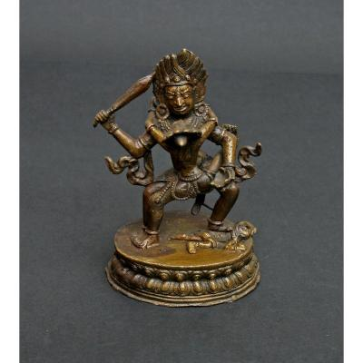 Antique Tibetan Bronze Acala Buddhist Protector Of Dharma Yab Yum King Of Wisdom