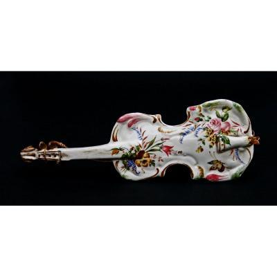 Anciene Vase Mural Violon Faience Italienne Gbv Nove Violoncelle Viero