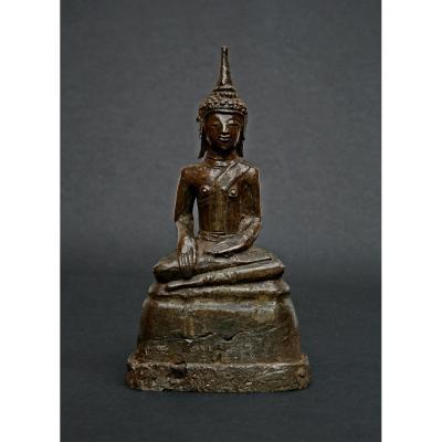 Rare  Alliage d'Argent Antique Bouddha Laos Ou ThaÏlande Du Nord 16ème / 17ème