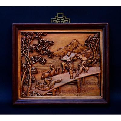 Ancien République De Chine Panneau En Bois Sculpté Chinois Marge De l'Eau Lin Chong Littérature