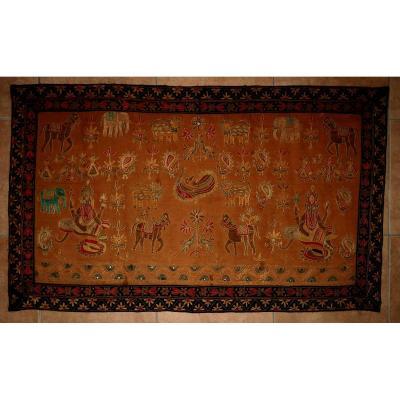 Broderie Indienne Antique Suspension Murale Pictorale Hindu Ganesh Chainstitch Crewel