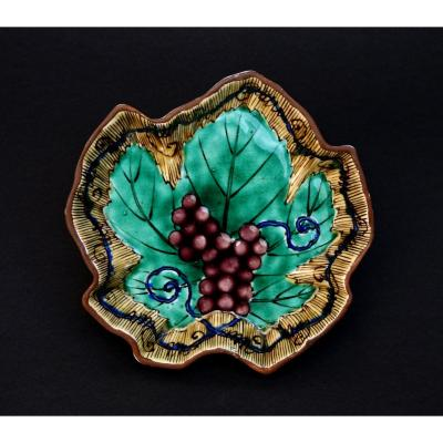 Plat de Feuilles de Vigne Japonais Ancien Porcelaine Kutani sous-verre à bouteille de Vin