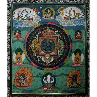 Impressionnant Thangka Tibétain Peint à La Main Bouddha Bouddhiste