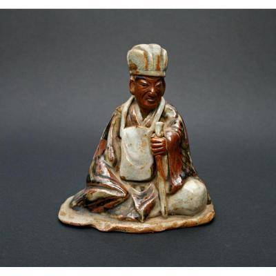 Céramique Rare Et Importante Du Poète Japonais Matsuo Basho Poème Hokku