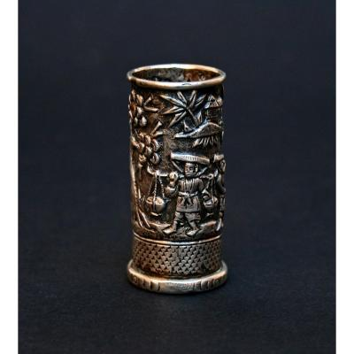 Antique Chinese Silver Opium Tool Container.
