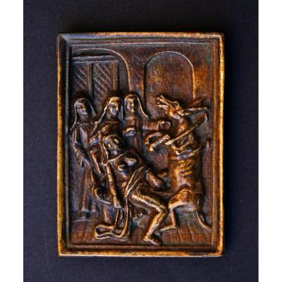 Antique Satirical Erotic French Bronze Plaquette Nuns Donkey