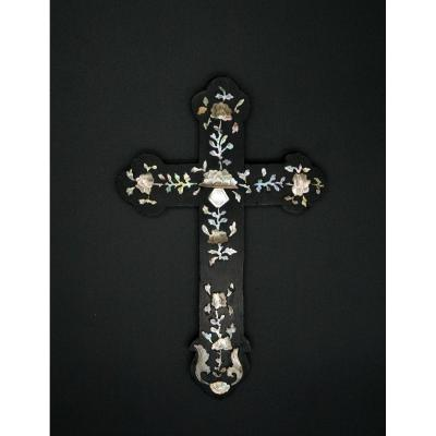Vietnam,  Cross Inlaid With Mother Of Pearl.