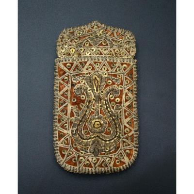 Ottoman Porte-monnaie Fil d'Argent Islamique C18ème turc brodé