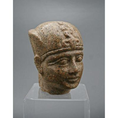 An Egyptian Carved  Marble Head Of A Pharaoh