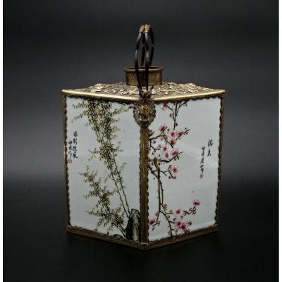 Antique Chinese Porcelain Tea Caddy. Porcelain Panels From The Republic Of China Period.