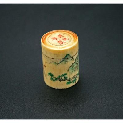 Antique Chinese Ivory Opium Jar With Engraved Decoration