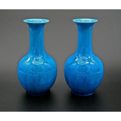 Paire Vases Porcelaine Chinois Monochrome République Jingdezhen