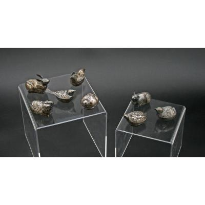 Collection Of 8 Antique  Solid Silver Betel Boxes Khmer Cambodia  Birds Animals Zoomorphic