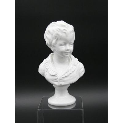 Buste En Porcelaine De Naples Capodimonte De Brongniart (directeur De Sèvres) d'Après Houdon