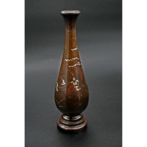 Vase Antique Vietnamien En Bronze Incrusté Vietnam