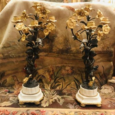 Pair Of Candelabra With Puttis
