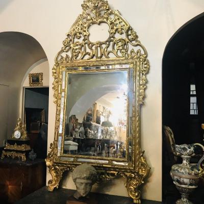 Miroir En Bois Sculpté Et Doré, Italie XVIIIe Siècle