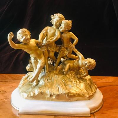 Groupe de Putti En Bronze De Monginot  XIX ème