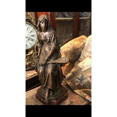 Bronze De Mengin, Jeune Femme à La Mendoline