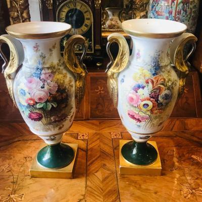 Paire De Vases Dit Médicis En Porcelaine De Limoges, Signés Marsac.