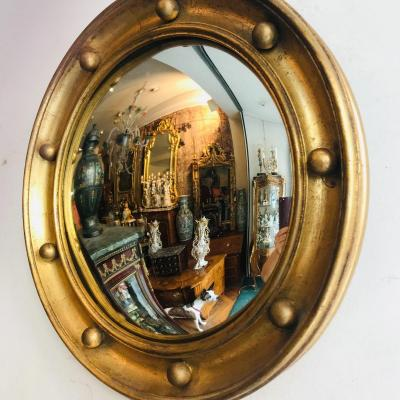 Miroir Sorcière En Bois Doré, XX ème.