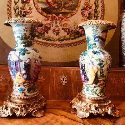 Bayeux. Paire De Vases En Porcelaine, XIX ème.