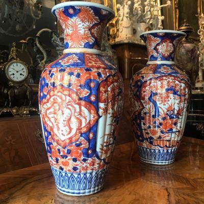 Paire De Vases En Porcelaine Imari. XIX ème