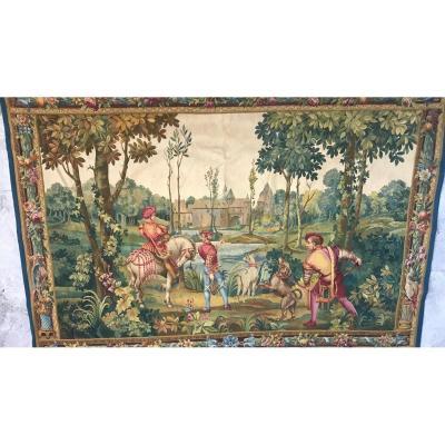 Tapisserie d'Aubusson, Scène de chasse,  XIX ème Siècle.