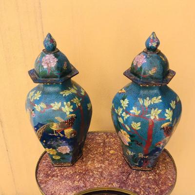 Paire De Vases  couverts Cloisonnés, chine XIX ème.