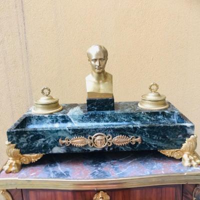 Encrier Napoléon En Bronze Doré Et Marbre, XIX ème