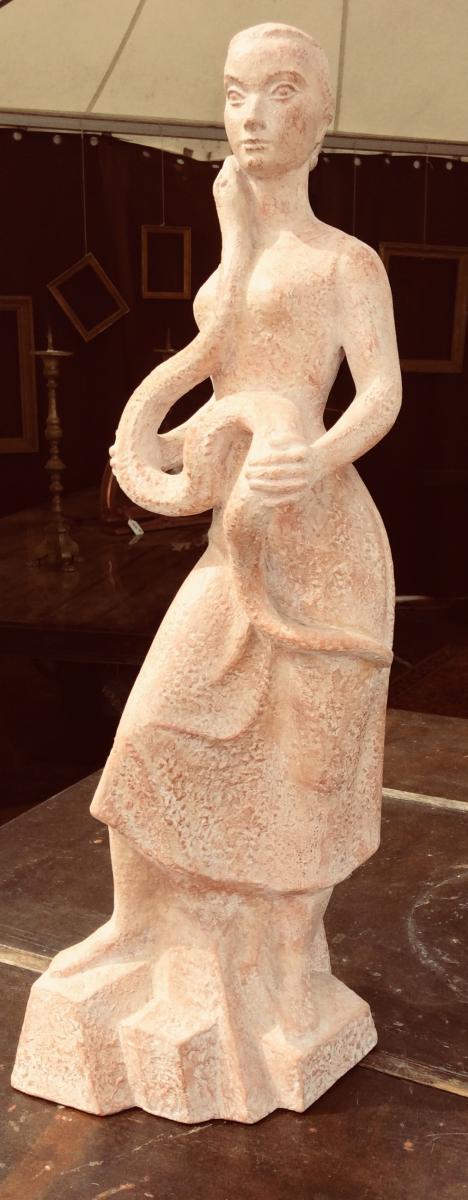 Statue Terre Cuite de R. Coulon «la Femme Au Serpent»