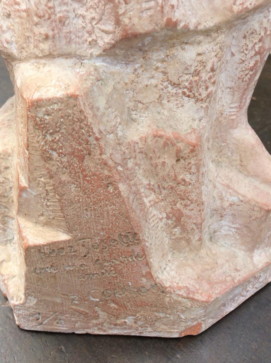 Statue Terre Cuite de R. Coulon «la Femme Au Serpent»-photo-3