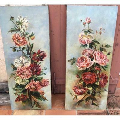 Paire De Tableaux Roses Et Dahlias En Pendant