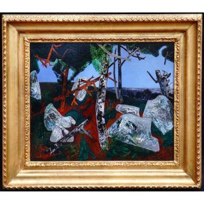 André Marchand (1907-1997) - Lonchamp Paysage aux rochers