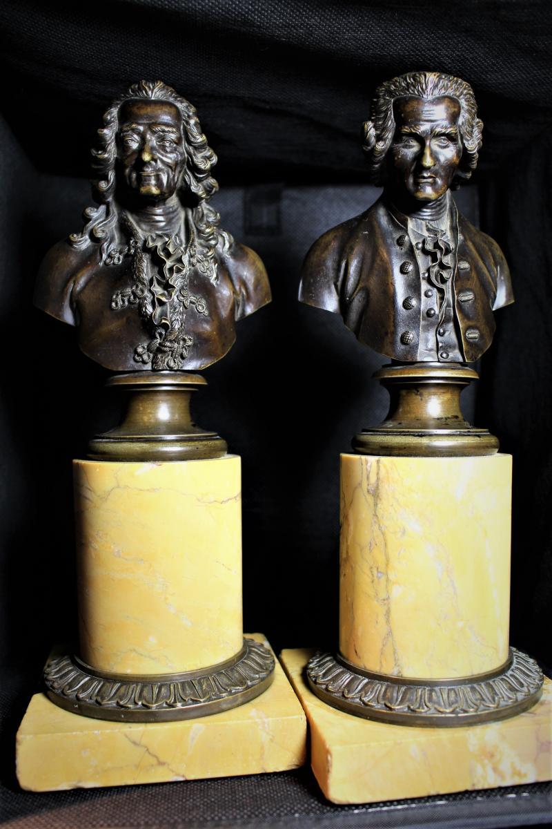 Grand Bustes De Voltaire Et Rousseau