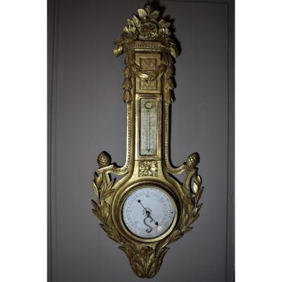 Barometer Louis XVI Carved Golden Wood