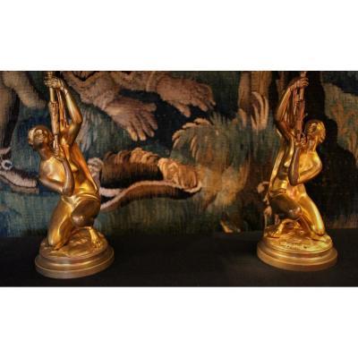 Paire De Lampe Naïades En Bronze