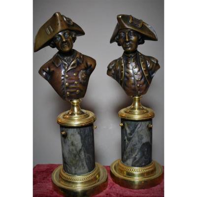 Paire De Bustes En Bronze De Frédéric II