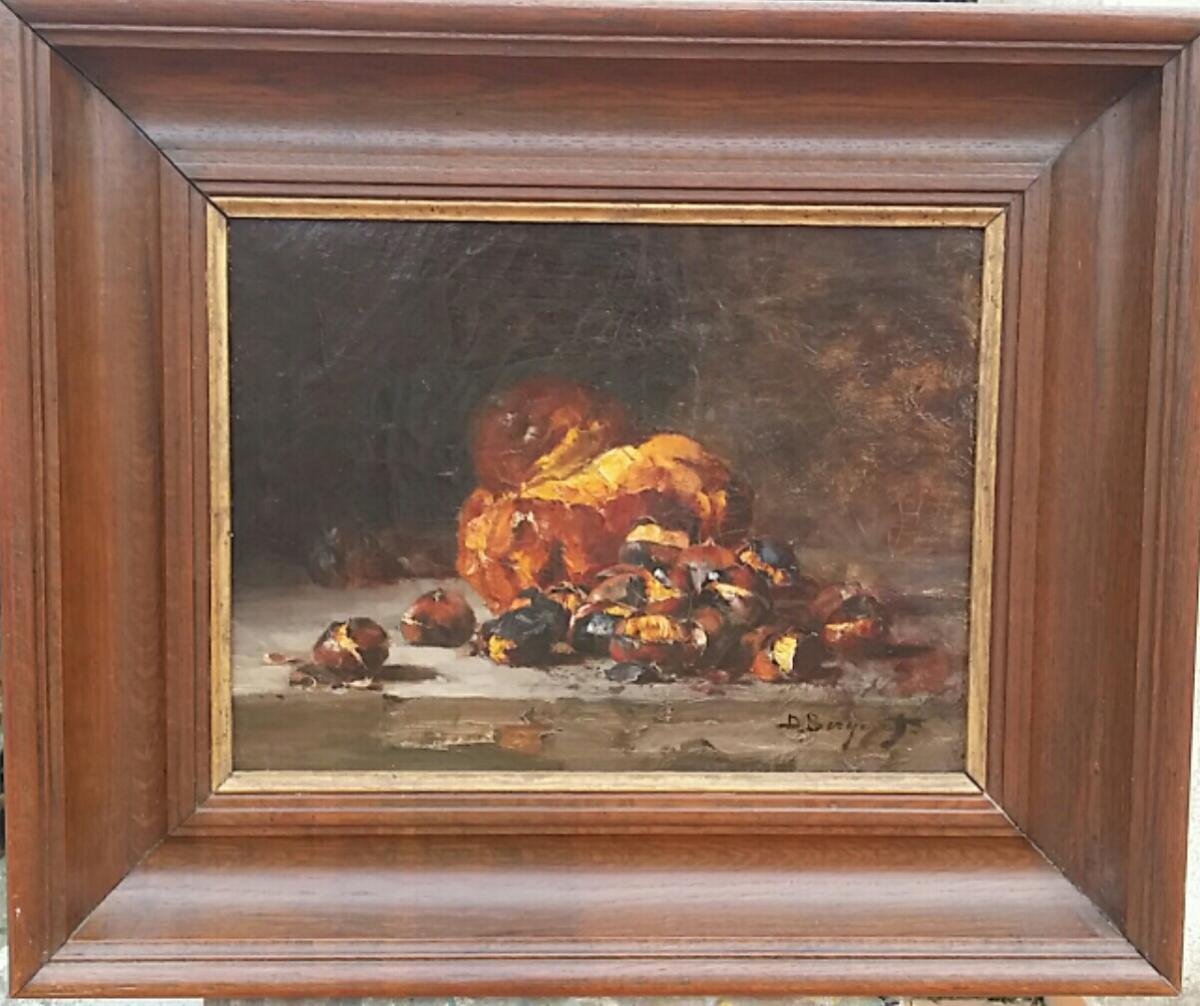 DENIS BERGERET (1844-1910) HUILE SUR TOILE NATURE MORTE AUX MARRONS