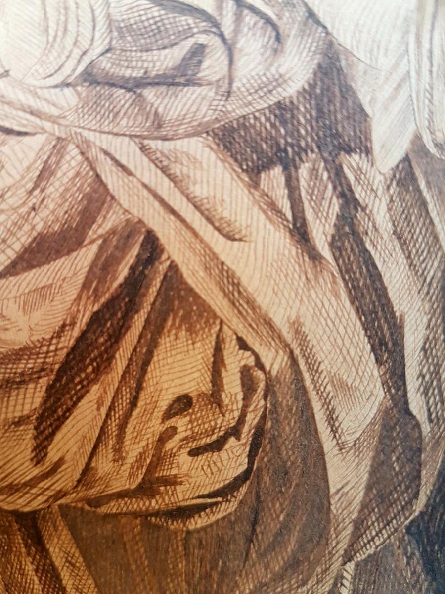 DESSIN A L'ENCRE D'APRES GREUZE EPOQUE DEBUT XIXe GRAND CALLIGRAPHIE-photo-3