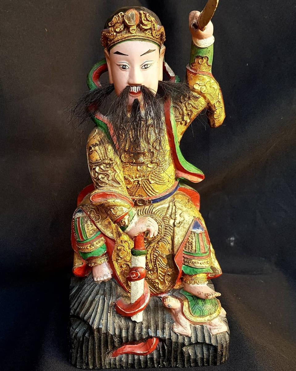 Guineer Statue Chiniois Wood Sculpt China Nineteenth