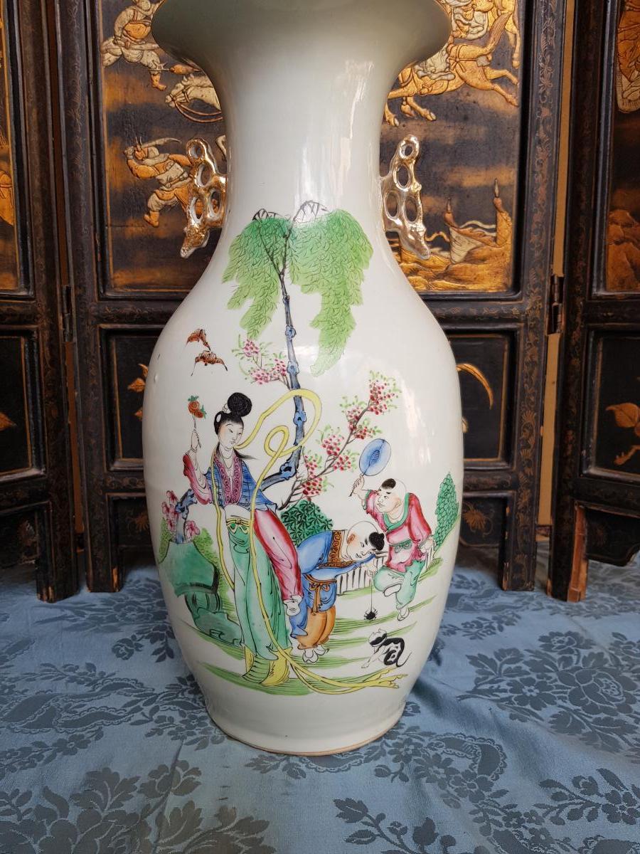 Vase Chinois Chine Fin XIXe Porcelaine hauteur 44 cm-photo-2