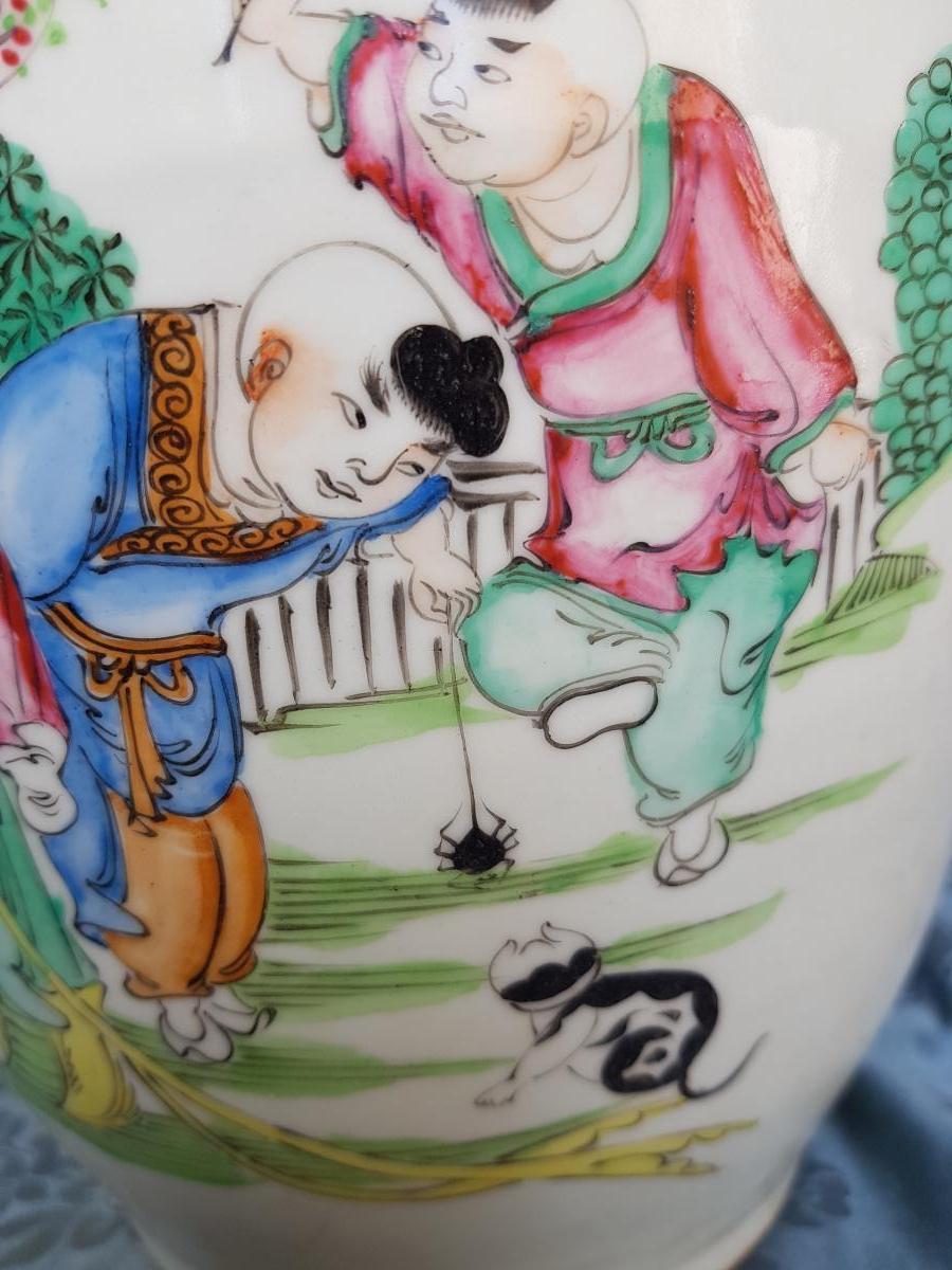 Vase Chinois Chine Fin XIXe Porcelaine hauteur 44 cm-photo-4
