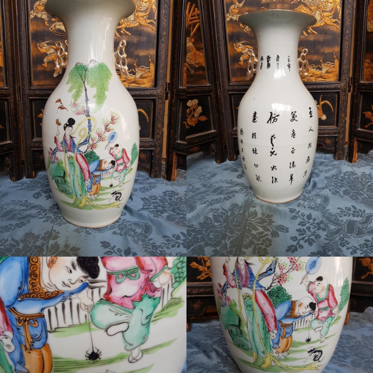 Vase Chinois Chine Fin XIXe Porcelaine hauteur 44 cm