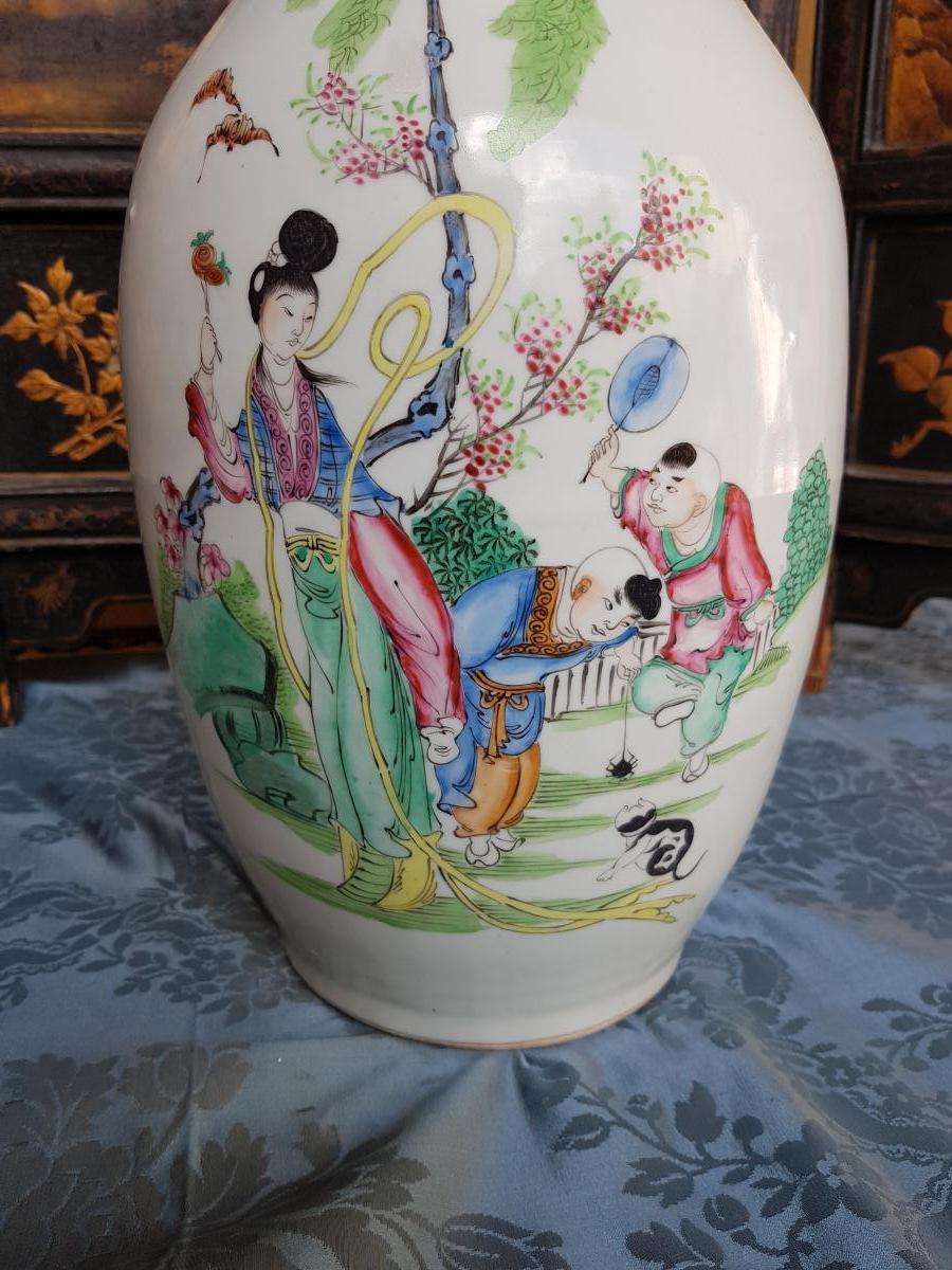 Vase Chinois Chine Fin XIXe Porcelaine hauteur 44 cm-photo-1