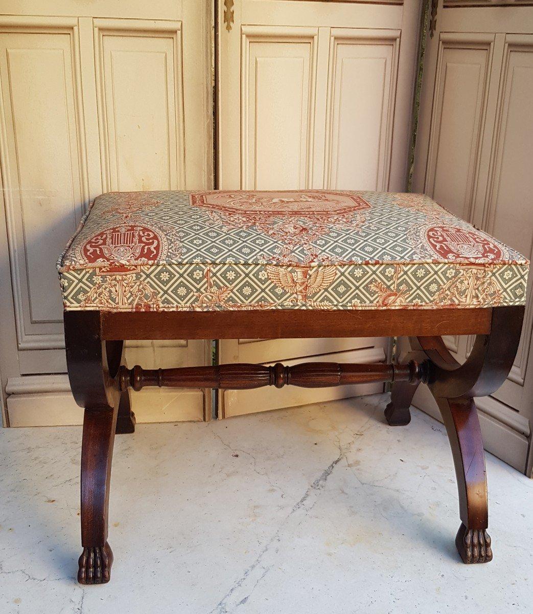GRAND TABOURET CURULE STYLE EMPIRE ACAJOU  BOUT DE CANAPÉ TABLE D'APPOINT