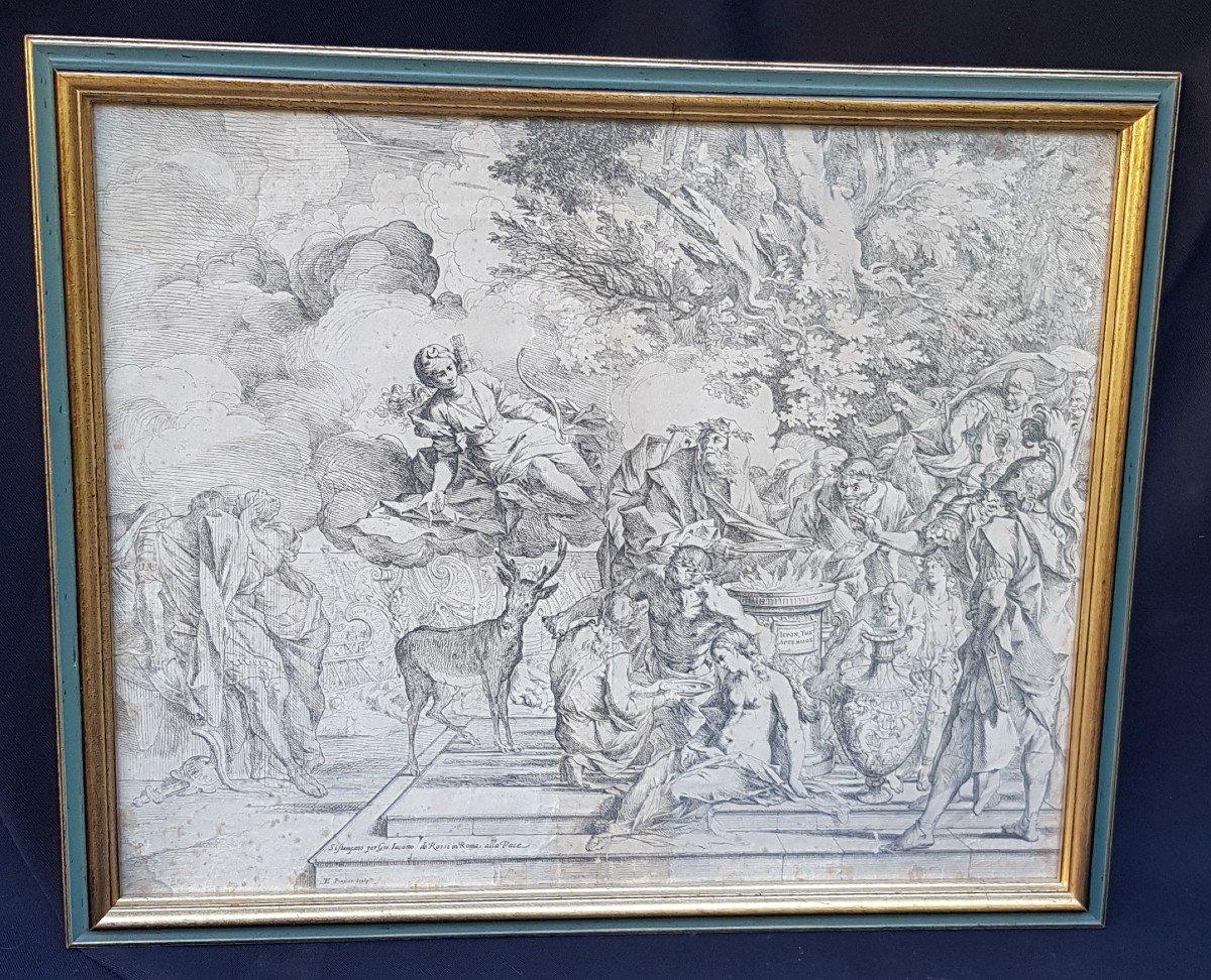 PIETRO TESTA LE SACRIFICE D'IPHIGÉNIE VERS 1640 EAU-FORTE XVIIe GRAVURE RARE-photo-2