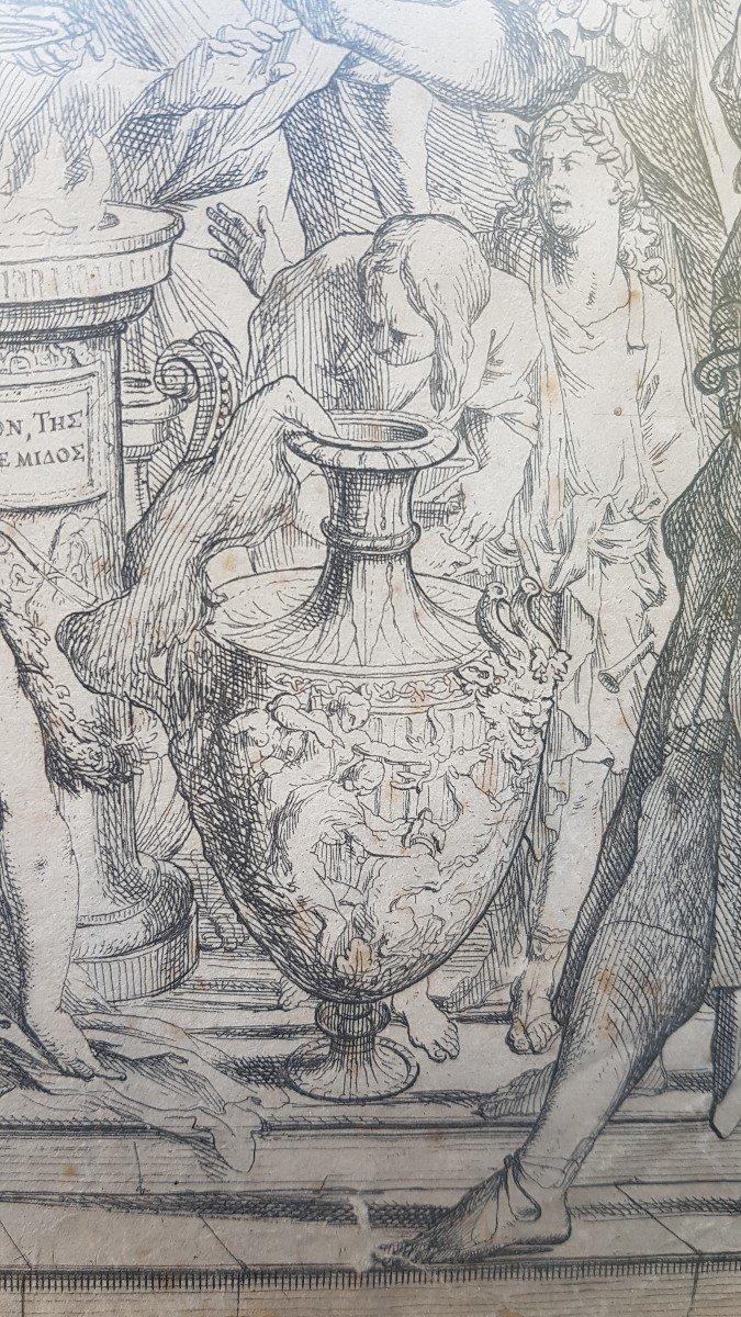 PIETRO TESTA LE SACRIFICE D'IPHIGÉNIE VERS 1640 EAU-FORTE XVIIe GRAVURE RARE-photo-1