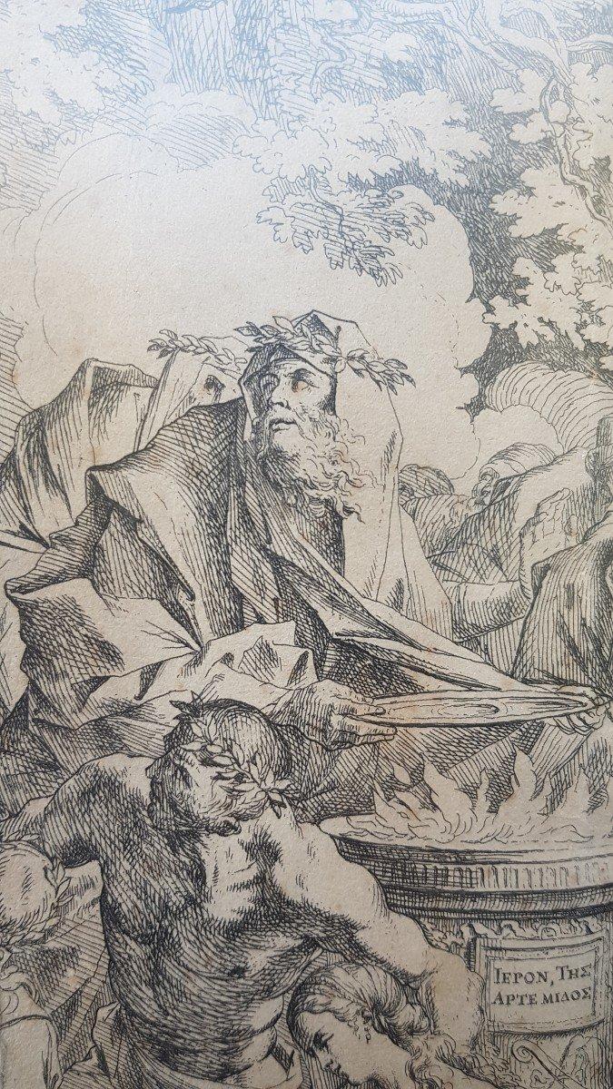 PIETRO TESTA LE SACRIFICE D'IPHIGÉNIE VERS 1640 EAU-FORTE XVIIe GRAVURE RARE-photo-4