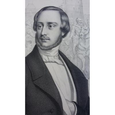 GRANDE GRAVURE DU COMTE DE CHAMBORD CIRCA 1845 NON ENCADREE